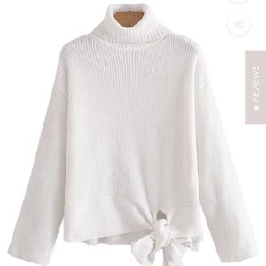 Goodnight Macaroon 'Daphne' Side Tie Turtleneck